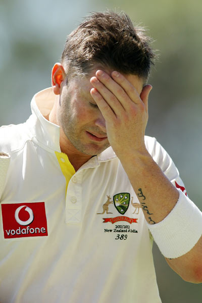 Michael Clarke leaves the field after getting out