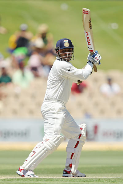 Virender Sehwag bats on Day 4 of the Test
