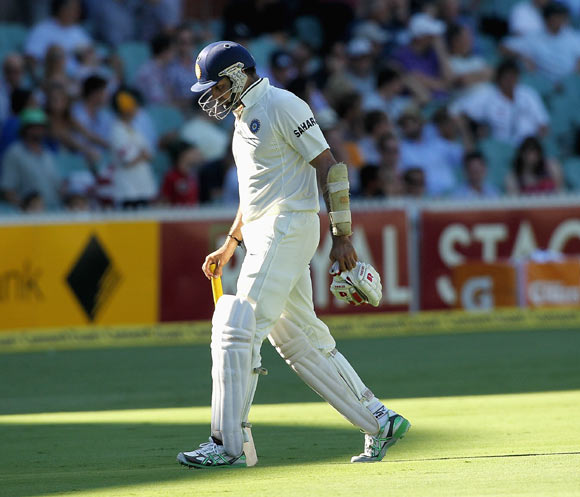 VVS Laxman leaves the field after being dismissed
