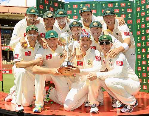 Australian team celebrates after winning fourth Test at Adelaide Oval