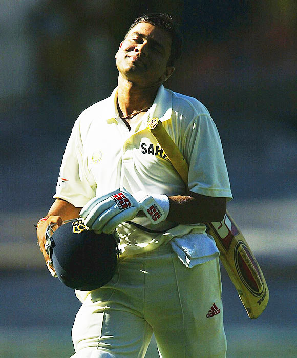 Aakash Chopra leaves the field after being dismissed during day three of the Boxing Day 3rd Test between Australia and India at the MCG on December 28, 2003