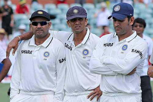 MS Dhoni, Rahul Dravid and Virender Sehwag