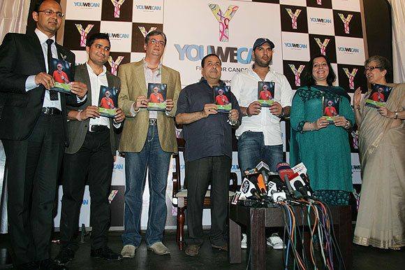 Yuvraj Singh launches the 'YouWeCan' cancer-awareness program in New Delhi on Saturday