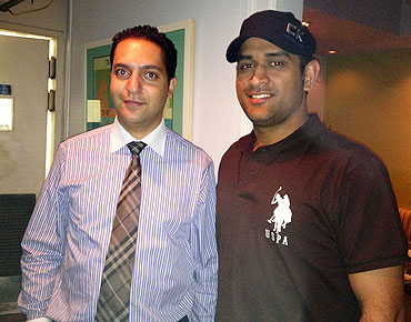 MS Dhoni with Mint manager Nawid Sahebzada