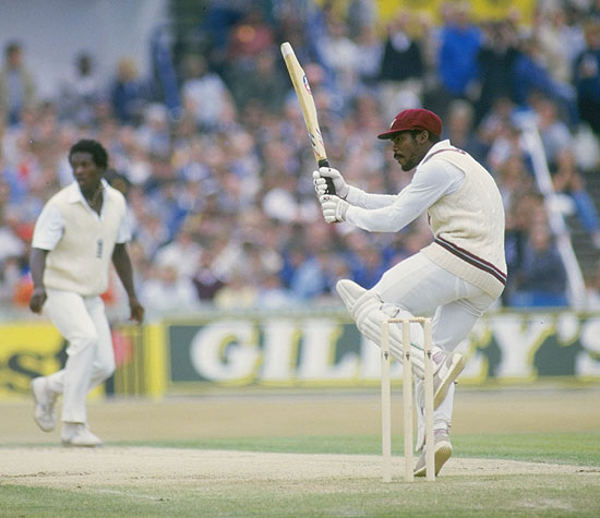 Gordon Greenidge of the West Indies hooks Norman Cowans during his double century against England in the fourth Test at Old Trafford in Manchester