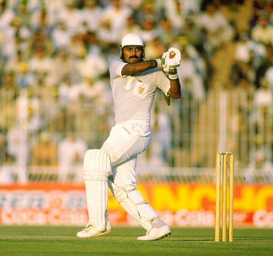 Javed Miandad of Pakistan in action at Gaddafi Stadium in Lahore