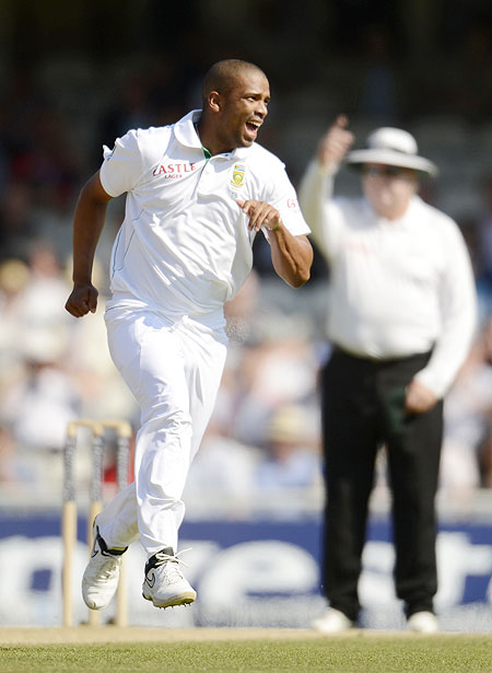 South Africa's Vernon Philander celebrates after dismissing England's Alistair Cook