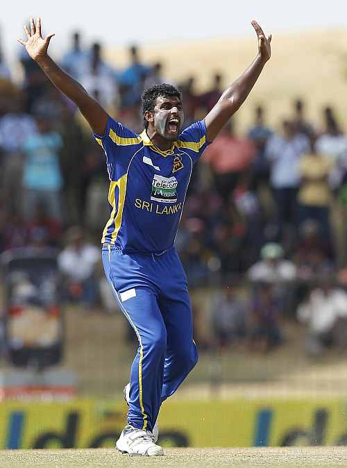 Sri Lanka's Thisara Perera appeals successfully for the wicket of India's Virat Kohli during their second one-day in Hambantota