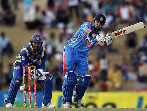 India's Gautam Gambhir plays a shot during the second ODI against Sri Lanka in Hambantota