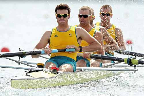 Joshua Dunkley-Smith, Drew Ginn, James Chapman and William Lockwood of Australia compete in the Men's Four heats