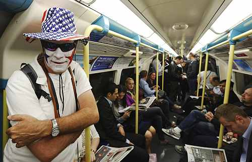 Andy King from Michigan in the U.S. travels to the Olympic Park on a London Underground train