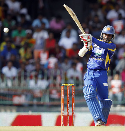 Sri Lanka's Upul Tharanga plays a shot during the fourth One-Day International match against India in Colombo