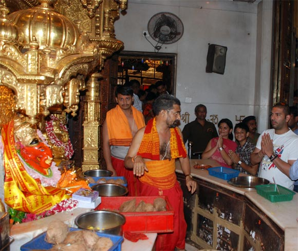 Yuvraj Singh prays at the Siddhi Vinayak Temple in Mumbai