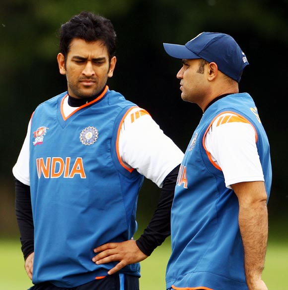 Mahendra Singh Dhoni (left) with Virender Sehwag