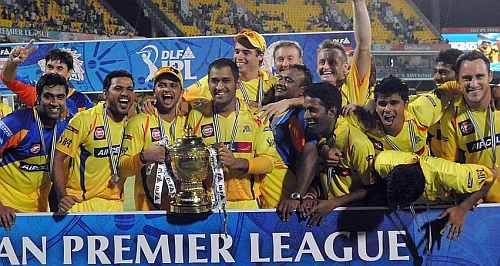 Chennai Super Kings players celebrate after winning IPL IV