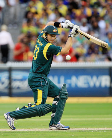 Shane Watson of Australia cuts during the One Day International match between Australia and Sri Lanka at Melbourne Cricket Ground