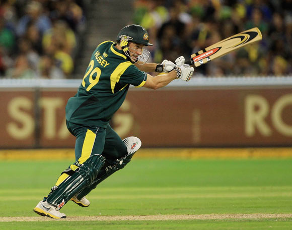 David Hussey of Australia cuts during the One Day International match between Australia and Sri Lanka at Melbourne Cricket Ground
