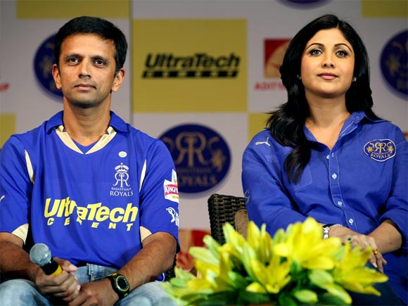 Rahul Dravid (left) with Shilpa Shetty