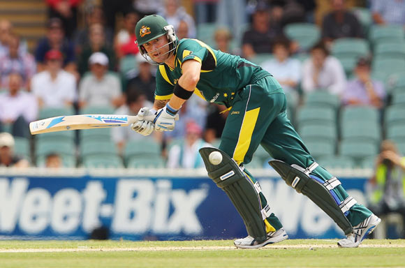 Michael Clarke of Australia bats during the second One Day International Final series match between Australia and Sri Lanka at Adelaide Oval