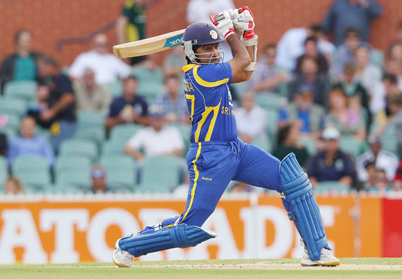 Mahela Jayawardene of Sri Lanka bats during the second One Day International Final series match between Australia and Sri Lanka at Adelaide Oval