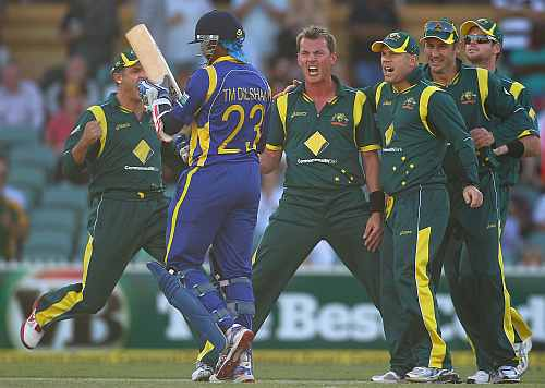 Brett Lee celebrates after picking up a wicket of Tillakaratne Dilshan