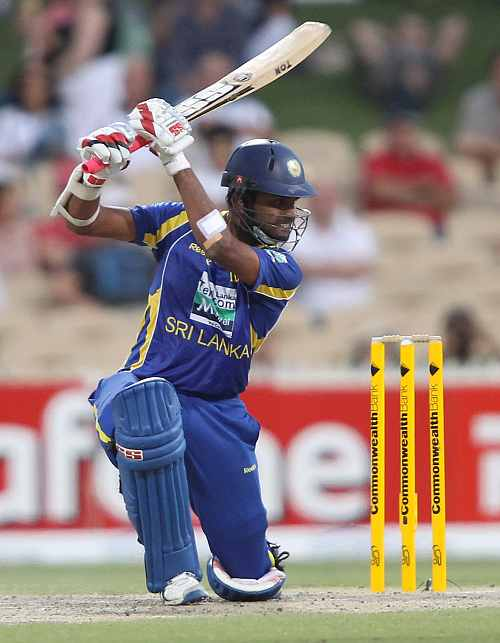Lahiru Thirimanne htis a cover drive during his knock against Australia