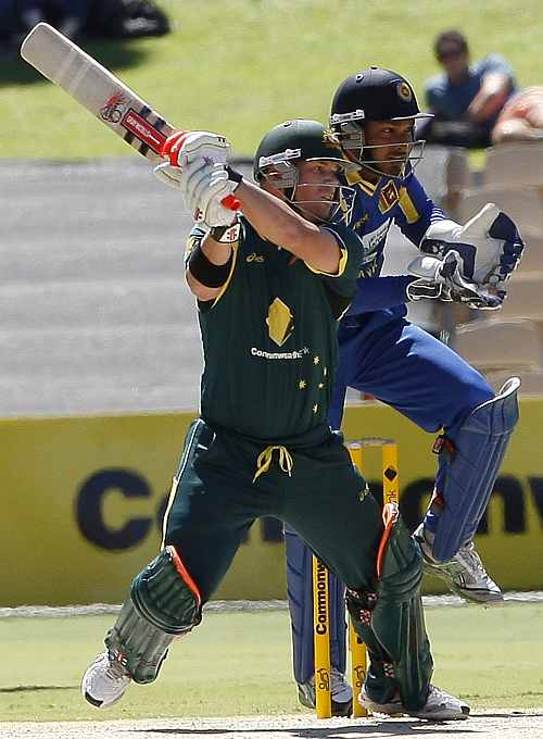 David Warner cuts the ball to the boundary during his knock against Sri Lanka