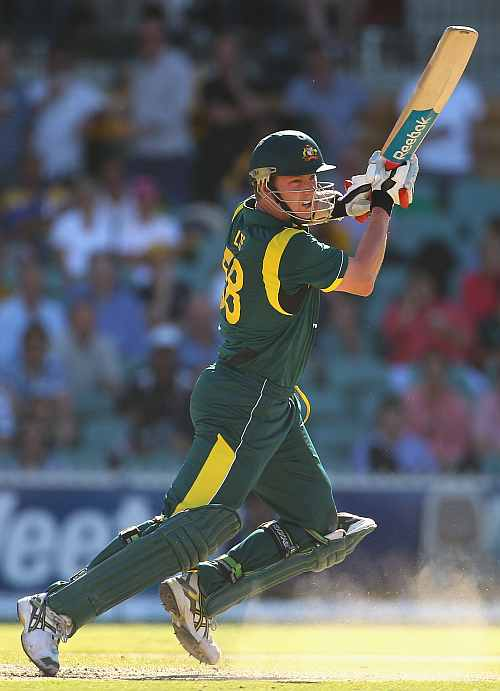 Brett Lee hits a boundary during his knock against Sri Lanka