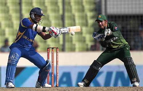 Kumar Sangakkara plays a square cut during his knock against Pakistan