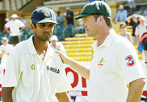 Dravid and Steve Waugh during their playing days