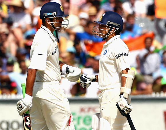 Sachin Tendulkar (right) with Rahul Dravid