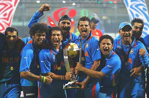 India players celebrate after winning the World Cup