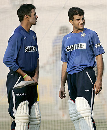 Sourav Ganguly with Rahul Dravid
