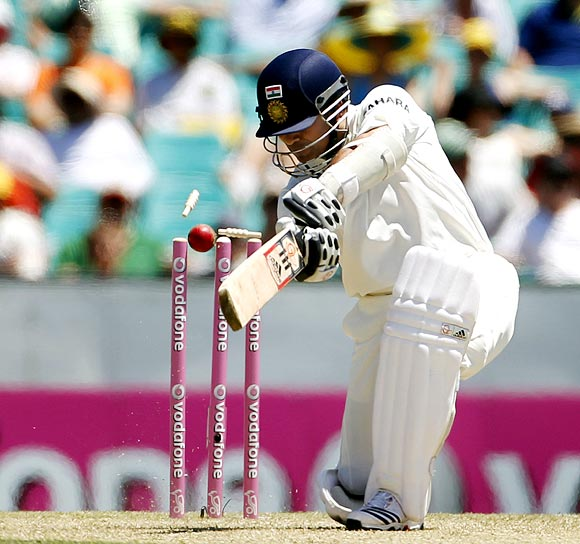 Sachin Tendulkar is bowled by James Pattinson