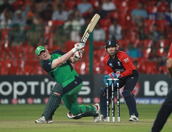 Kevin O'Brien in action in the World Cup match against England