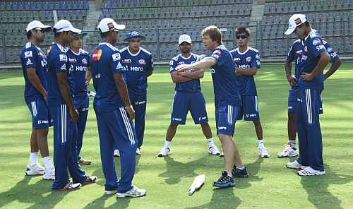 Mumbai Indians players during practice session at the Wankhede
