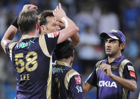 Kolkata Knight Riders' players celebrate