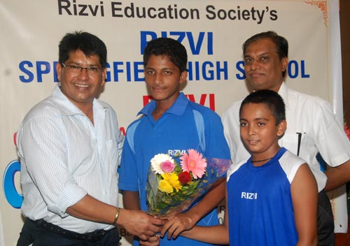 Left to right: Chandrakant Pandit, Armaan Jaffer, Prithvi Shaw and Javed Rizvi, trustee Rizvi Education Society