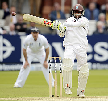 Shivnarine Chanderpaul plays a shot on Day 1 of the first Test vs England on Thursday