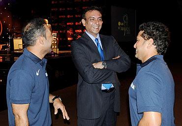 Ravi Shastri with Sachin Tendulkar and Virender Sehwag