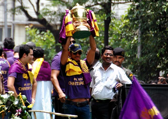 Kolkata Knight Riders players celebrate winning the IPL in Kolkata