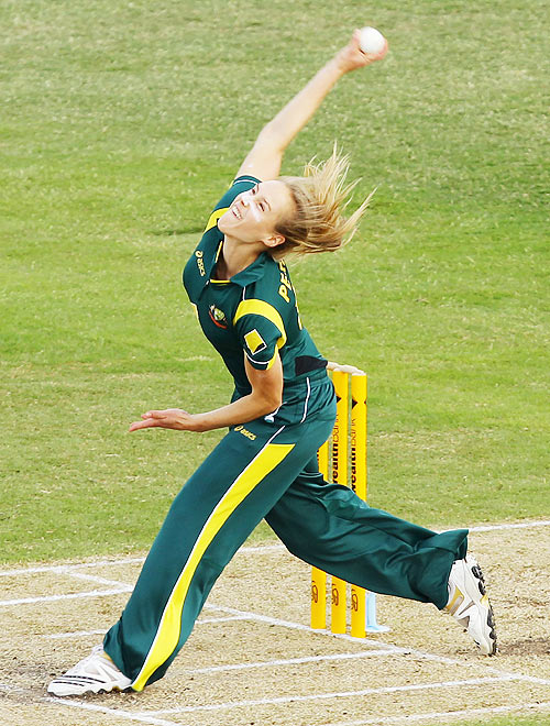 Ellyse Perry of Australia bowls during the Women's Twenty20 match