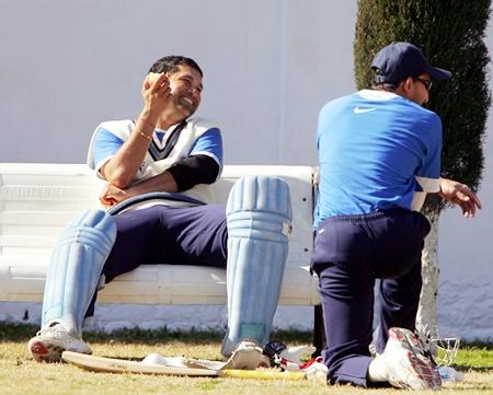 Sachin Tendulkar with Ajit Agarkar
