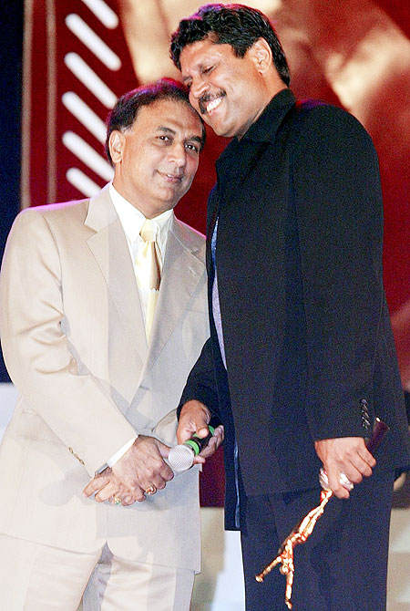 Sunil Gavaskar with Kapil Dev