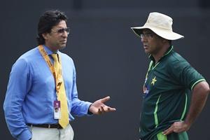 Wasim Akram with Waqar Younis