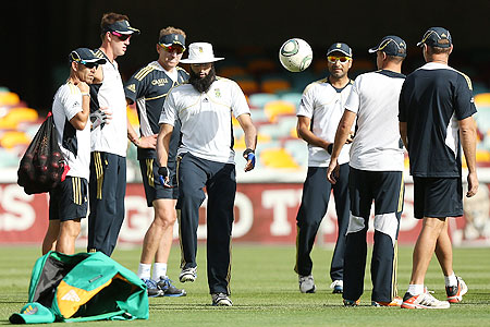 The South African team at a training session at The Gabba on Wednesday