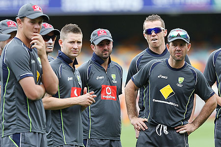 Josh Hazlewood, Mike Hussey, Michael Clarke, Ed Cowan, Peter Siddle and Ricky Ponting look on during an Australian training session at The Gabba on Wednesday