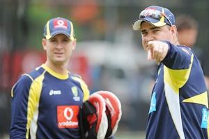 Australia Coach, Mickey Arthur speaks with Michael Clarke