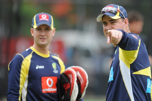 Australia Coach, Mickey Arthur speaks with Michael Clarke