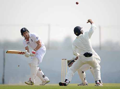 Nick Compton of England bats during the tour match between England and Haryana